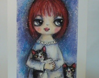Child and cats print