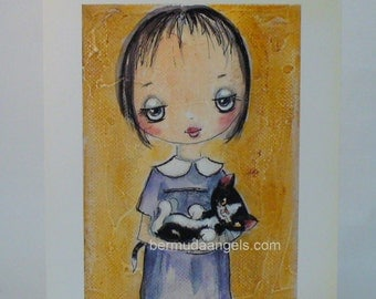 Little girl and kitten print