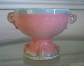 Shabby Chic Pink and Blue Vintage Compote Cottage Antique Ironstone China