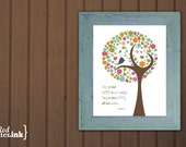 Wall Art (pink, green, multicolor with tree/bird embellishment)  Psalm 96:1 - 8 x 10 Print