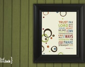 Wall Art (brown, green, orange, blue, red with circle embellishments)  Proverbs 3:5-6 - 5 x 7 Print