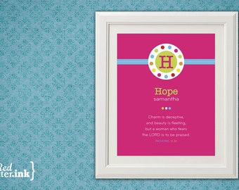 Girl Monogram Print (pink, multicolor with circle embellishment)  Proverbs 31:30 - 8 x 10 Print