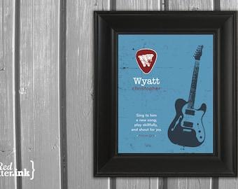 Boy Monogram Print (blue, red, dark gray with electric guitar embellishment)  Psalm 33:3 - 8 x 10 Print