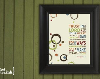 Wall Art (brown, green, orange, blue, red with circle embellishments)  Proverbs 3:5-6 - 8 x 10 Print