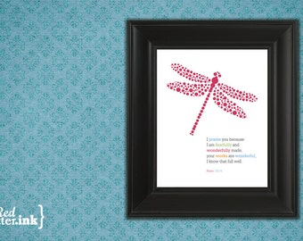 Girl Wall Print (multicolor text with dragonfly embellishment)  Psalm 139:14 - 8 x 10 Print