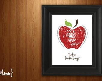Wall Art - Fruits of the Spirit (apple design) Galatians 5:22 - 8 x 10 Print