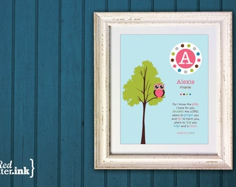 Girl Monogram Print (blue, green, pink, brown with owl in a tree)  Jeremiah 29:11 - 8 x 10 Print