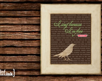 Wall Art (Hymn Lyrics) - I Sing Because I'm Free John 8:32 - 5 x 7 Print