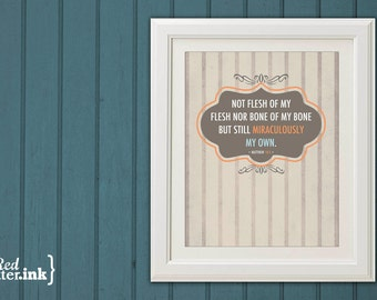 Miraculously My Own Adoption Wall Print (tan, orange, blue, brown)  Matthew 18:5 - 8 x 10 Print