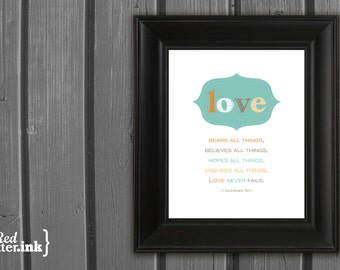Wall Art - Love Never Fails (brown, seafoam, gold, orange) I Corinthians 13:7 - 8 x 10 Print