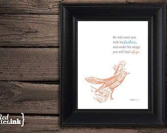 Wall Art - Covered with His Feathers (charcoal, seafoam, orange) Psalm 91:4 - 8 x 10 Print