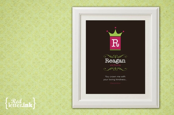 Girl Monogram Print (brown, pink and lime green with crown embellishment)  Psalm 103:4 - 8 x 10 Print