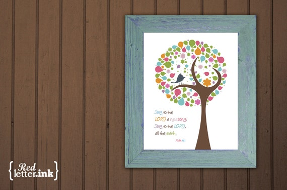 Wall Art (pink, green, multicolor with tree/bird embellishment)  Psalm 96:1 - 5 x 7 Print