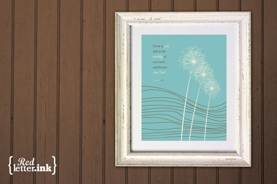 Wall Art - Grow In Grace (brown and turquoise with dandelion design) 2 Peter 3:18 - 5 x 7 Print