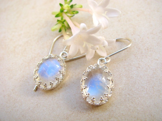 Rainbow Moonstone earrings, silver earrings, bridal earrings, gemstone earrings, wedding jewelry, sterling silver