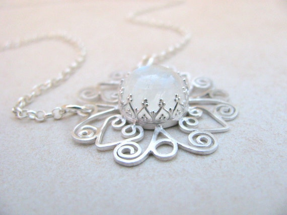 Mandala necklace, silver necklace, filigree necklace, Rainbow moonstone necklace, Unique necklace