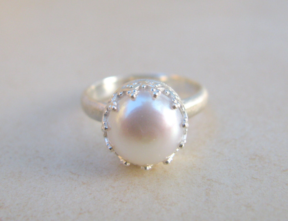 Pearl ring engagement ring silver ring delicate by for Pearl engagement ring with wedding band