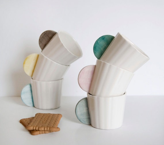 Ceramic Coffee Cups Set of 6 in different colors: pink, mint, gray, yellow, black and blue