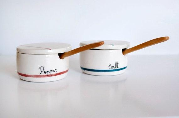 Set of two Ceramic  Salt / Pepper cellar