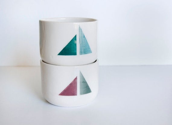 Reserved for Felicity-Discounted Ceramic cups with geometric motifs: Set of 2
