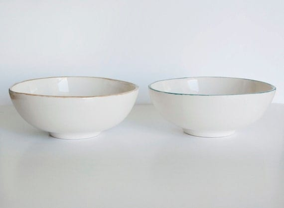 Ceramic Japnese bowls / Nesting bowls/ Japanese ceramic/ Set of two/  White ceramic/