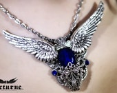 Pulsar Gothic Necklace - Silver Wings and Crystals - Victorian Gothic Jewelry