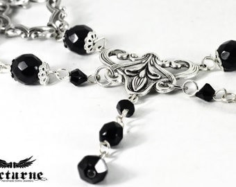 Black beads with Silver Connectors Gothic Necklace - Beaded Necklace - Victorian Gothic Jewelry