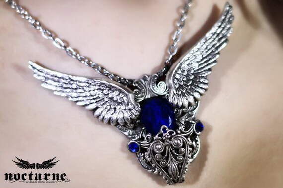 Blue Crystal Necklace with Wings - Statement Necklace - Gothic Victorian Jewelry
