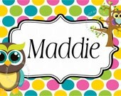 """Lux Rox Boutique Personalized Children's Placemat """"Mod Owl Polkadot"""""""