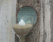 Rustic Recycled Wine Bottle Mirrored Candleholder Recycled Bottle Art Garden Art