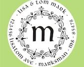 Custom Rubber Stamp - Self Inking Personalized monogram return address stamp - Wedding stamper - MS5342
