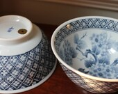 Pair of blue and white chinoiserie bowls