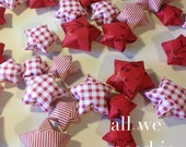 Shabby Chic christmas - alice in wonderland - red and white stripes - girly birthday - 55 sweet origami stars by Allweneedisorigami on Etsy