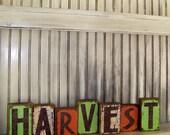 harvest wood block sign