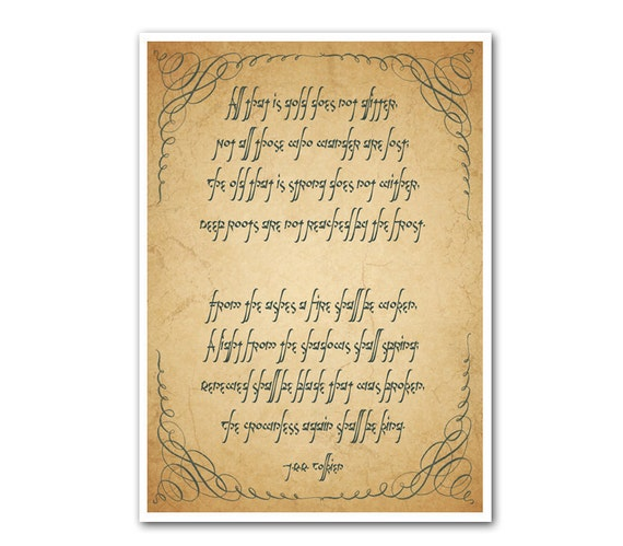 Riddle of Strider Print - 5x7 - Not All Who Wander Are Lost Lord of the Rings Home Decor