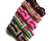 Set of 5 Preppy Stripe Colors Collection Grosgrain Hair Clippies Bows - perfect gift