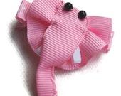 Pink Elephant Grosgrain Sculpture Bow Girl Hair Clippy Clip Accessory