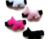 Set of Four Furry Scotty Dog Hair Clippies - Black, Hot Pink, Pink, White