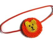 Orange and Yellow Soft Crochet Lion Animal Elastic Headband for newborn, baby, toddler, photo prop, hair accessory