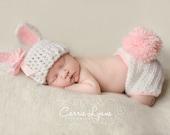 Newborn Bunny Hat, Bunny Diaper Cover Set,  Newborn Photo Prop, Newborn Easter, Infant Bunny Hat, Pink And White Hat, Crochet Bunny Hat