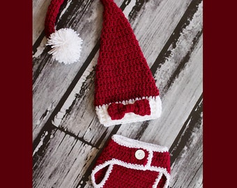 Newborn Santa Hat, Christmas Photo Prop, Newborn Elf Hat, Santa Hat And Diaper Cover, Newborn Photo Prop, Burgundy Hat, Newborn Pom Pom Hat
