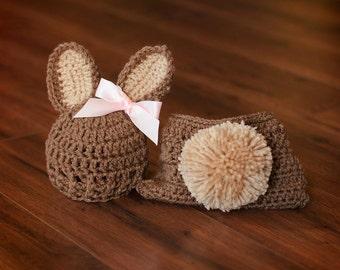 Newborn Bunny Hat, Diaper Cover Set, Newborn Photo Prop, Newborn Easter, Easter Photo Prop, Neutral Newborn Hat, Newborn Diaper Cover