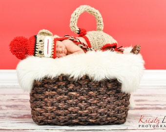 Newborn Sock Monkey Hat, Newborn Photo Prop, Sock Monkey Hat And Diaper Cover With Tail, Hat With Braids, Newborn Boy Hat, Newborn Boy Prop,