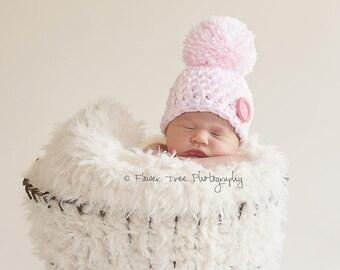Newborn Pink and White Pom Pom Hat, Newborn Photo Prop, Newborn Girl Hat, Hat With Big Button, Newborn Pom Pom Hat, Newborn Beanie