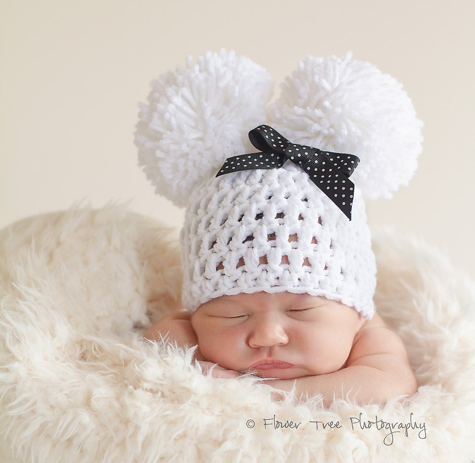 Crochet Newborn Pom Pom Hat Pattern : Newborn Pom Pom Hat Newborn Photo Prop White Pom Pom Hat