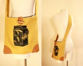 Handmade Rolleicord Cross-Body Purse / Mustard Color Linen / Hand Printed Vintage Camera / Leather