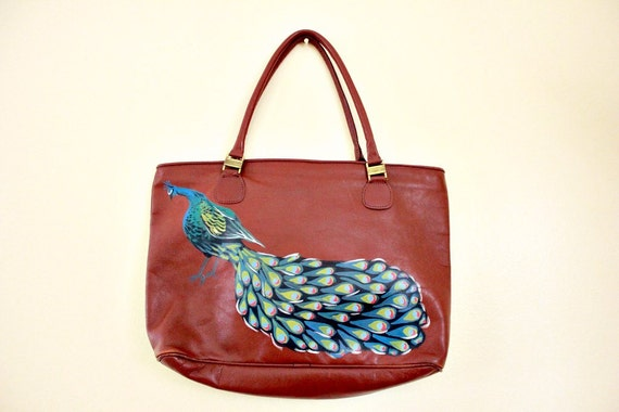 Upcycled Hand Painted Vintage Leather Purse / Peacock