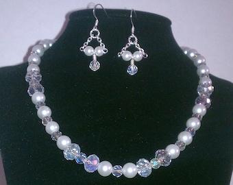 Bridal Wedding white glass pearls and clear swarovski Brides Set