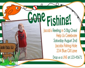 Gone Fishing Party Invitation-NOT PRINTABLE