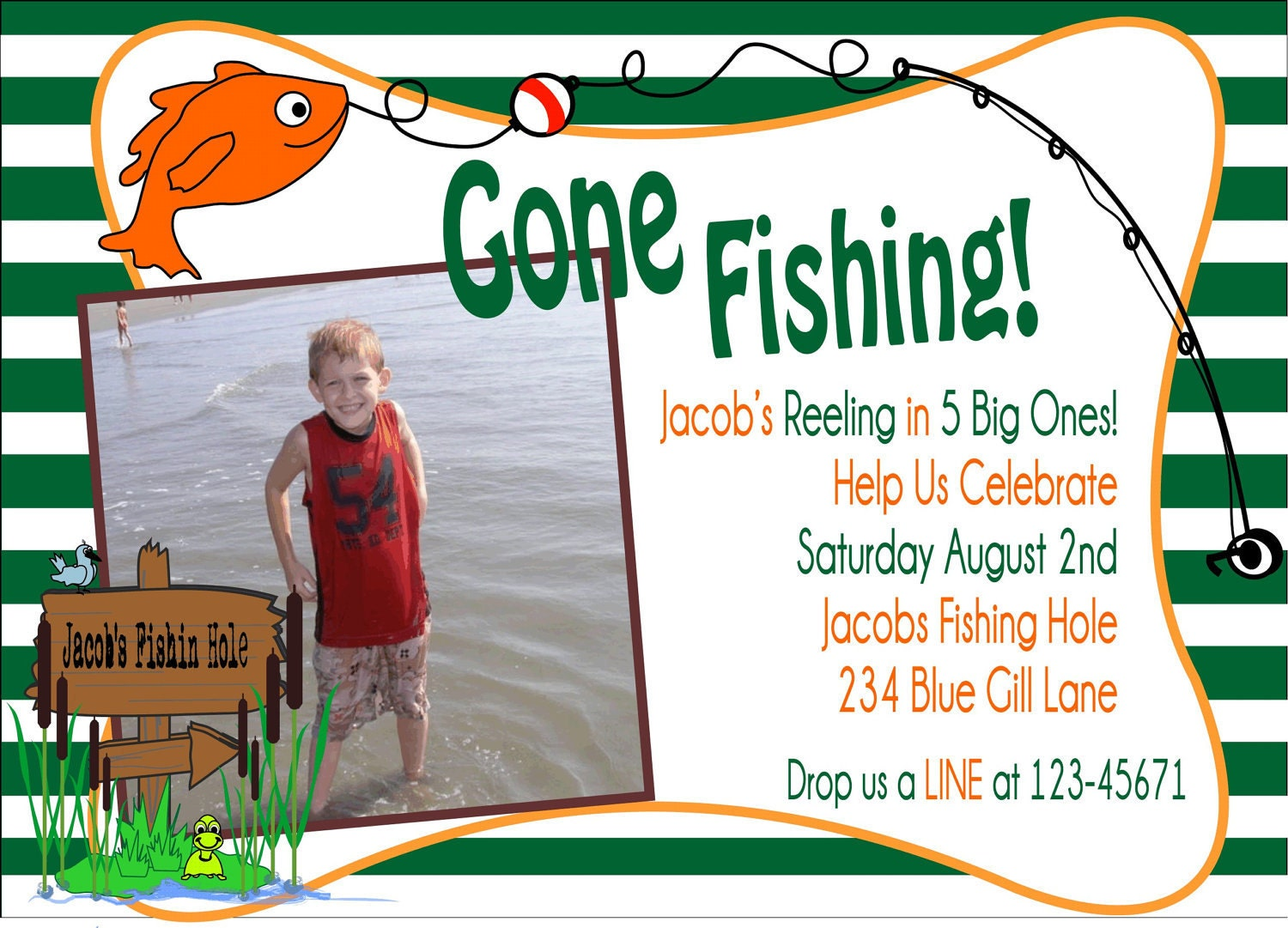 Gone fishing party invitation not printable by sweetbycandy for Fishing birthday party invitations